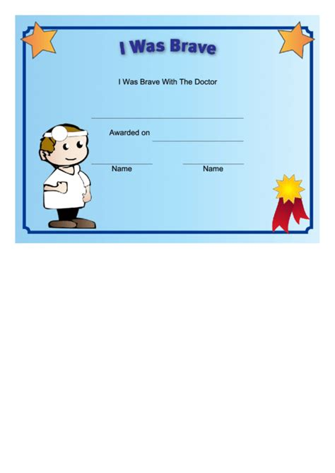 brave   doctor certificate printable