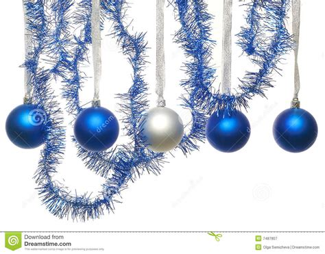 blue and silver christmas balls royalty free stock