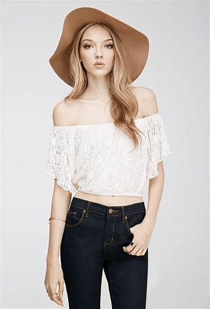 Lace Shoulder Forever Crop Tops Floral Outfits