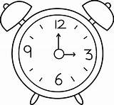 Clock Coloring Outline Alarm Pages sketch template