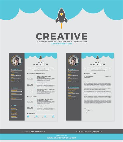 Free Creative Resume by Free Creative Cv Resume Design Template With Cover Letter