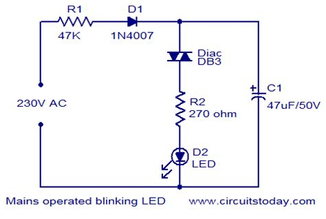 Mains Operated Blinking Led Electronic Circuits
