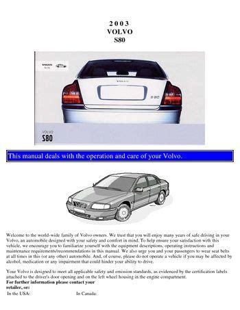 auto repair manual free download 1999 volvo s80 free book repair manuals download 2003 volvo s80 owner s manual pdf 109 pages
