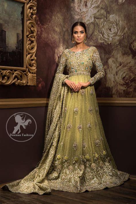 designer dress  lime green fully embroidered