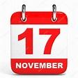 Calendario. 17 de noviembre. — Fotos de Stock ...