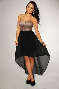Rose Gold Sequins Black High-Low Strapless Padded Dress