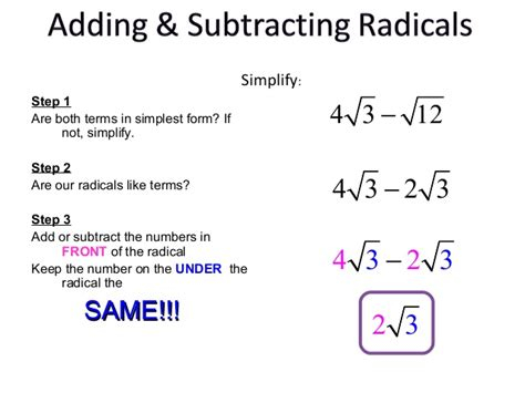 how to do simple radical form roots and radical expressions