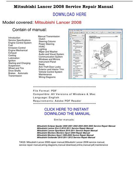 auto repair manual free download 2004 mitsubishi lancer evolution security system mitsubishi lancer 2008 service repair manual by repairmanualpdf issuu