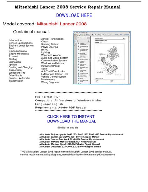 car service manuals pdf 2008 mitsubishi outlander electronic valve timing mitsubishi lancer 2008 service repair manual by repairmanualpdf issuu
