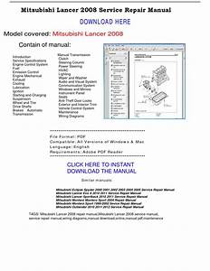 Mitsubishi Lancer 2008 Service Repair Manual By Repairmanualpdf