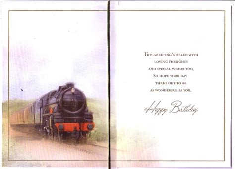happy birthday brother train personalised braille card