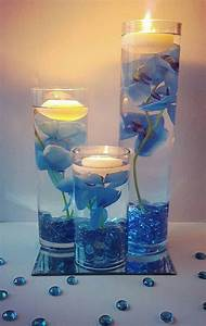 Wedding, Centerpiece, Floating, Candle, Centerpiece, With, Blue, Orchids, And, Led, Lights, Blue, Wedding