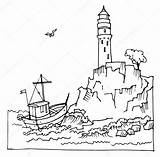 Cliff Lighthouse Drawing Sea Lighthouses Vector Coloring Drawn Illustration Pages Getdrawings Sketch Template El Hand sketch template