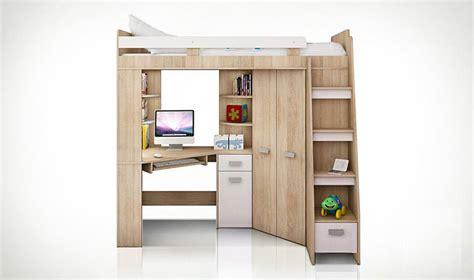 lit mezzanine ado avec bureau et rangement lit combin en hauteur enfant avec bureau et armoire en bois