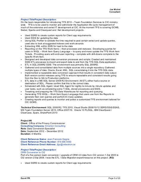 One Resume For All by Joe Michel 2015april09 Sql Crm Bi Resume With References