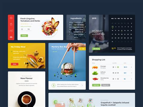 food drink ui kit freebiesbug