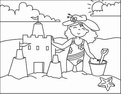 Coloring Beach Pages Sandcastle Building Scenes