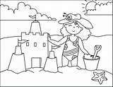 Coloring Beach Pages Sandcastle Building Scenes sketch template