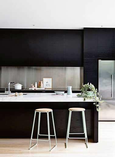 peindre carrelage cuisine plan de travail crédence en inox brossé dans cuisine design