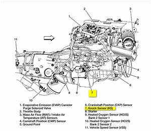 Where Is The Knock Sensor Located On A 2002 Silverado 4 3l V6  W