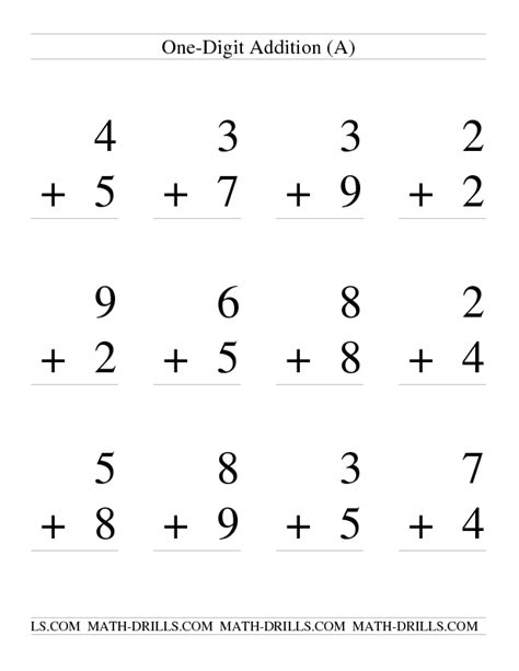 single digit vertical addition with regrouping addition worksheet single digit addition some