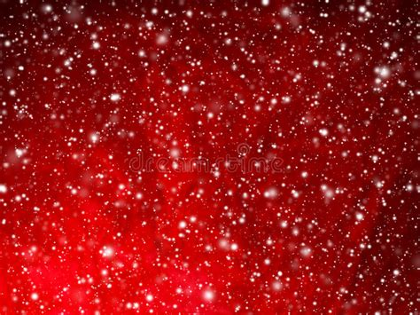 Bright Red Abstract Christmas Background With Falling Snow