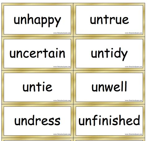 prefix un word cards with definitions from school