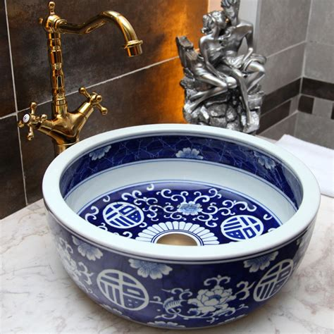 asian round shaped vessel bowl sink blue for bathroom