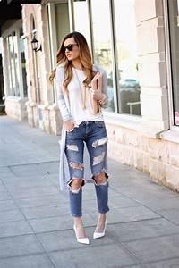 Outfits con jeans rotos de street style u00a1consigue una combinaciu00f3n de 10! | Girls and Fashion