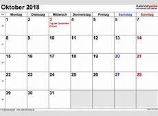 Kalender Oktober 2018 als ExcelVorlagen
