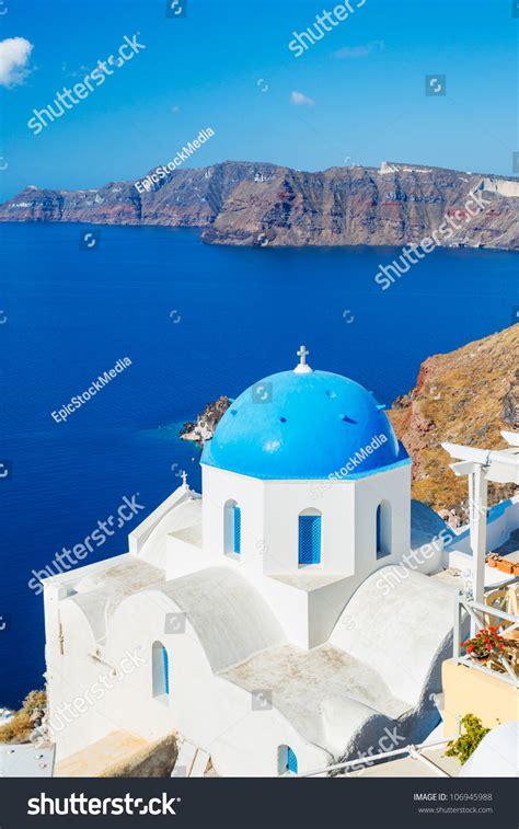 Santorini Island Greece Beautiful View Of Blue Ocean And