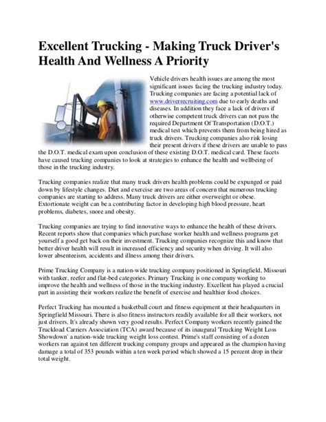 Excellent Trucking Making Truck Driver's Health And