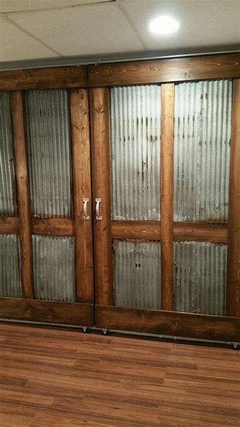 door barn metal sliding corrugated industrial stained doors rustic wood custom built interior closet diy exterior farmhouse bathroom wide galvanized