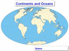 World Map with Continents Not Labeled