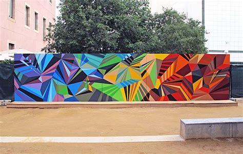 Easy Abstract Shapes by Colorful Geometric Graffiti Murals Inspirations