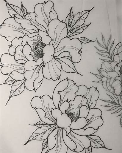 Tattoo Japanese Peony Outline Flower Flowers Tattoos