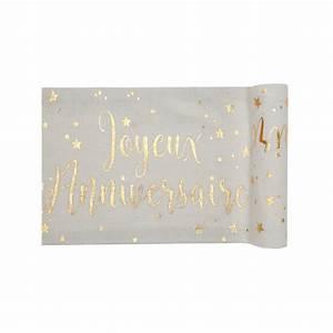 Chemin De Table Anniversaire : chemin de table joyeux anniversaire blanc et or ~ Melissatoandfro.com Idées de Décoration
