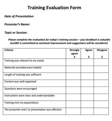 image result  evaluation forms  training