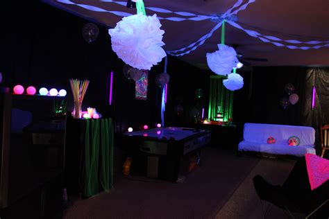 black light room i covered the walls with plastic table