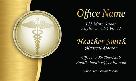 gold medical doctor business card design