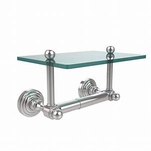 Allied, Brass, Waverly, Place, Collection, Double, Post, Toilet, Paper, Holder, With, Glass, Shelf, In