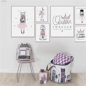 Pink, Princess, Queen, Flamingo, Typography, Quotes, Posters, And, Prints, Nordic, Girls, Room, Wall, Art