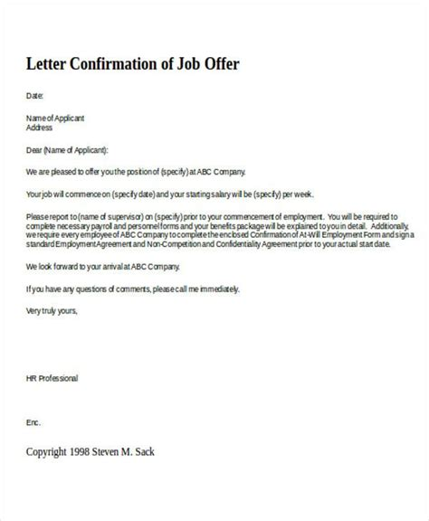 letter  job confirmation sample job confirmation letter