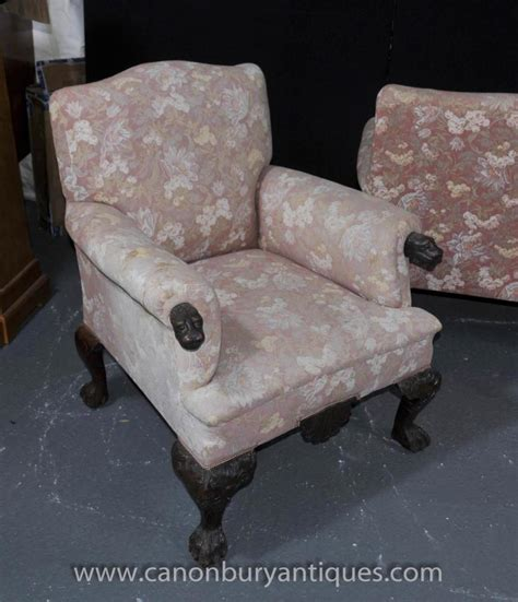 Settee And Chair Set by Antique Chippendale Sofa Set Arm Chair Seats