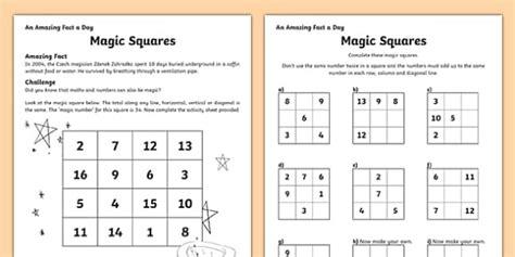magic squares worksheet worksheet worksheet