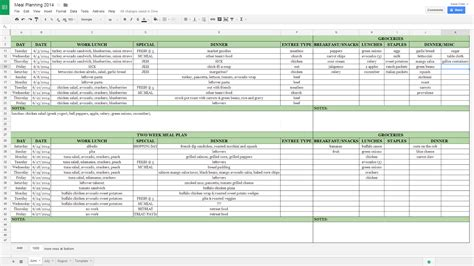 meal planner template google docs printable planner template
