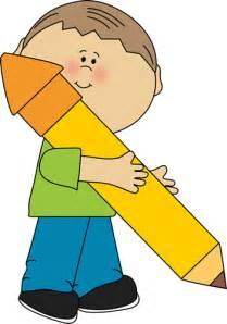 Boy Holding Pencil Clip Art