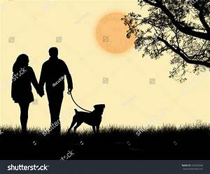 Silhouette Couple Walking Their Dog On Stock Vector ...