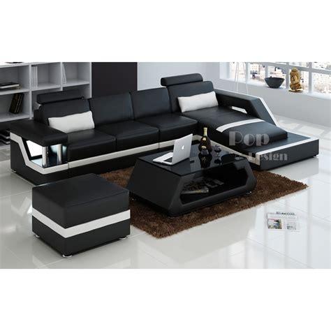 angle de canapé canapé d 39 angle design en cuir véritable tosca pouf pop