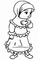 Kartun Gambar Mewarnai Muslimah Coloring Sketsa Muslim Islami Keren Moslem sketch template